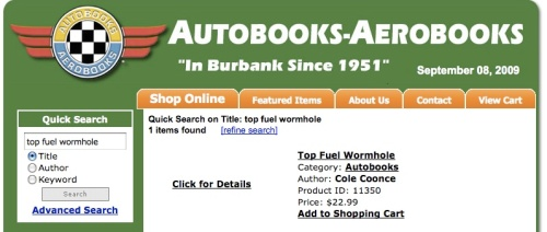 Top Fuel Wormhole is available online and in-store from AutoBooks-AeroBooks in Burbank