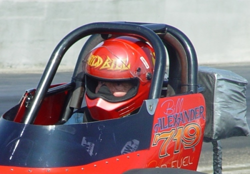 """Wild Bill"" Alexander, in the Ground Zero Top Fuel dragster at the 2003 March Meet (photo by Cole Coonce)"